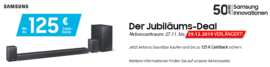 Samsung X-Mas Jubiläums-Deal: Cashback für Soundbars bei City-TV-HiFi