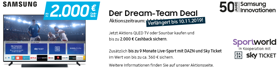 Samsung Dream-Team Deal: Cashback Aktion