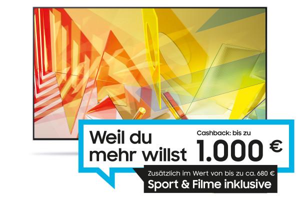Samsung SuperDeals Cashback Aktion:Samsung Q95T GQ55Q95TGTXZG - 4K QLED TV - Ansicht vorne 1